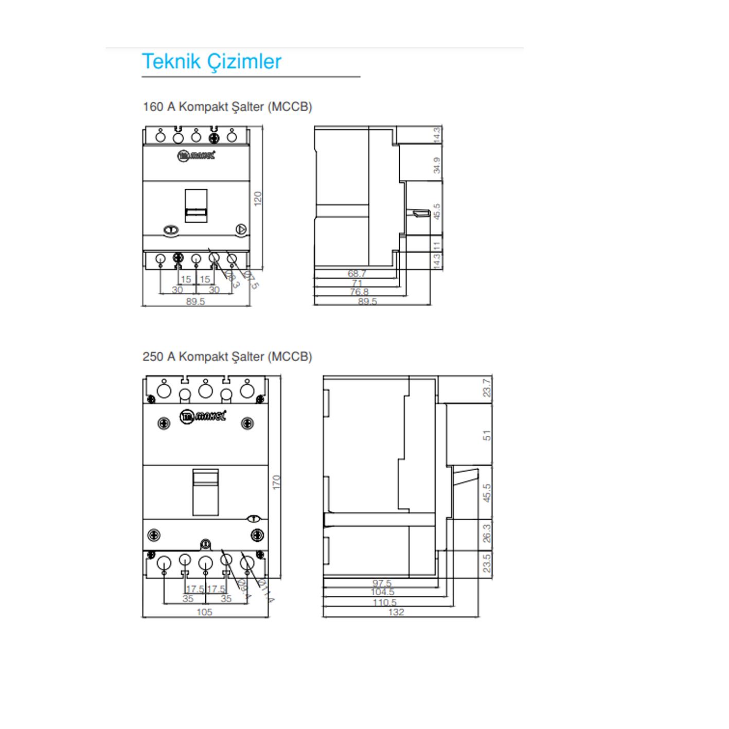 Makel 160A Kompakt Tip Termik Manyetik Güç Şalteri