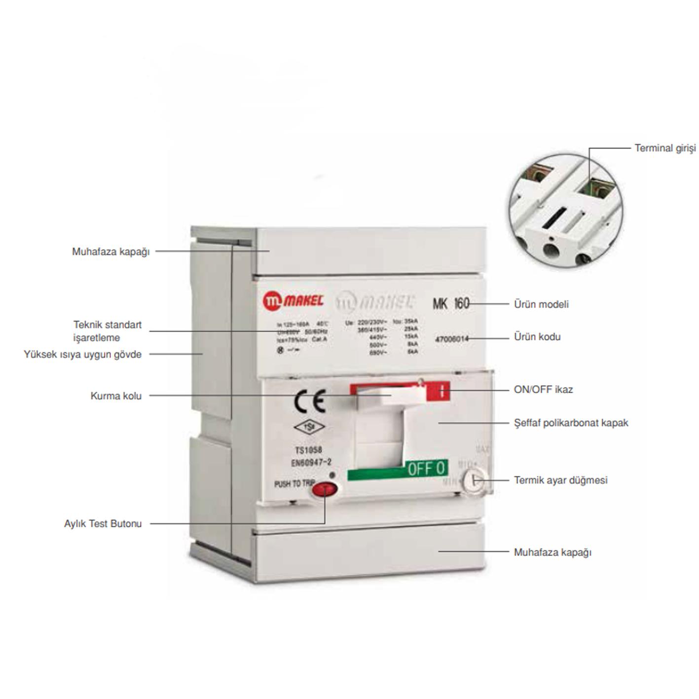 Makel 250A Kompakt Tip Termik Manyetik Güç Şalteri