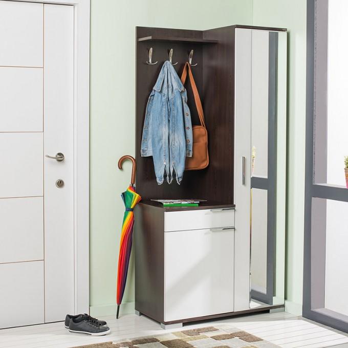Adore Elegant Aynalı Portmanto ve Ayakkabılık - Wenge - Beyaz - PRT-12-WB-1