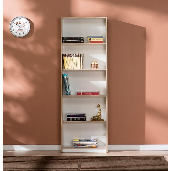 Adore Trend 5 Raflı Kitaplık - Milano Meşe - Beyaz - TKT-50-MB-1