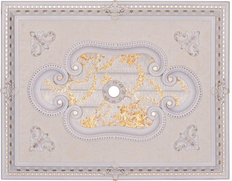 Beyaz Altın Dikdörtgen Saray Tavan Göbeği 60X90cm (DD6090-BA2)