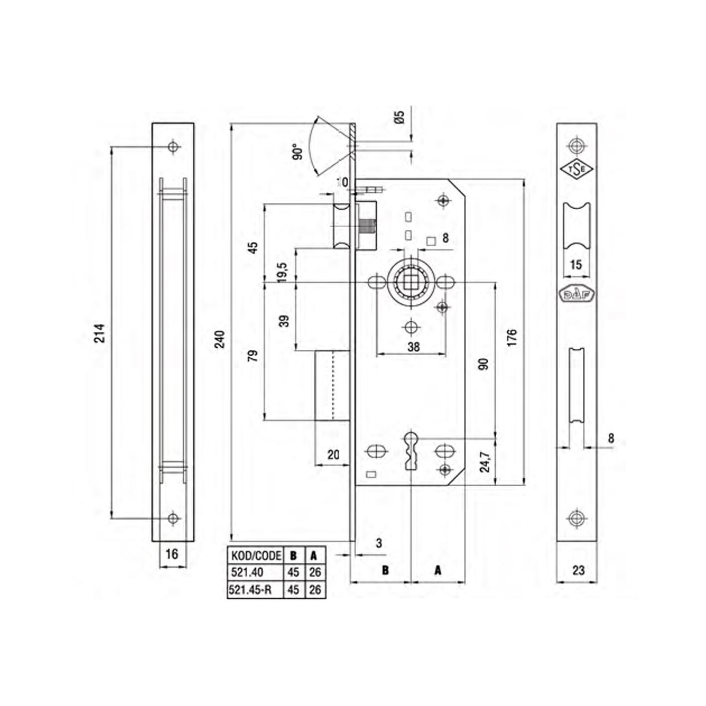 Daf 521-45 RST İç Kapı Gömme Kilidi Kare