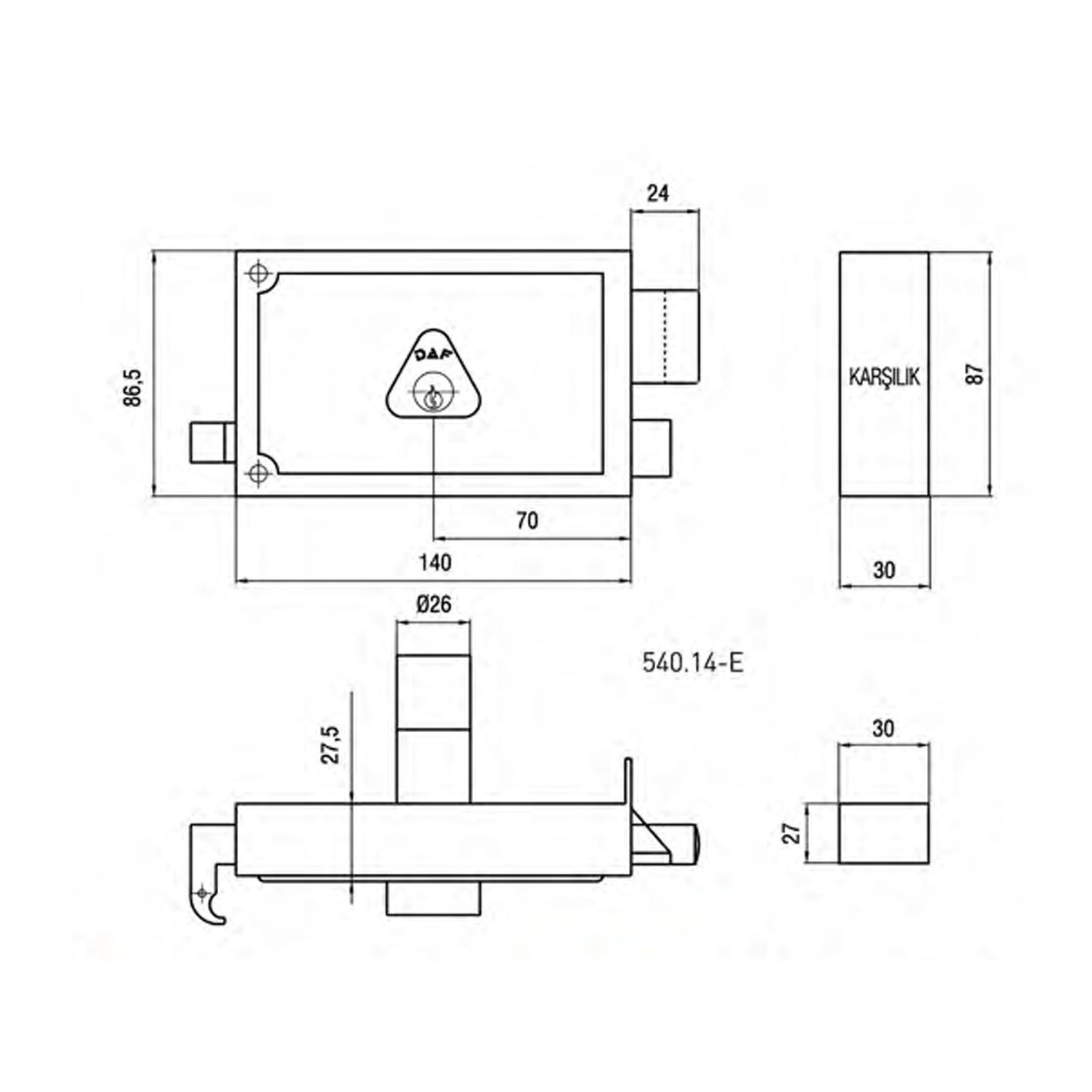 Daf 540-14 Trajlı Kilit Eko 140mm