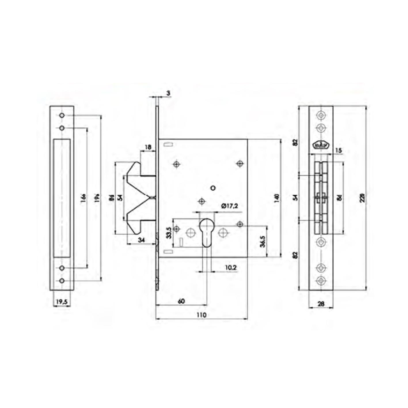 Daf 572-60 2K Çelik Kapı Kilidi 60mm