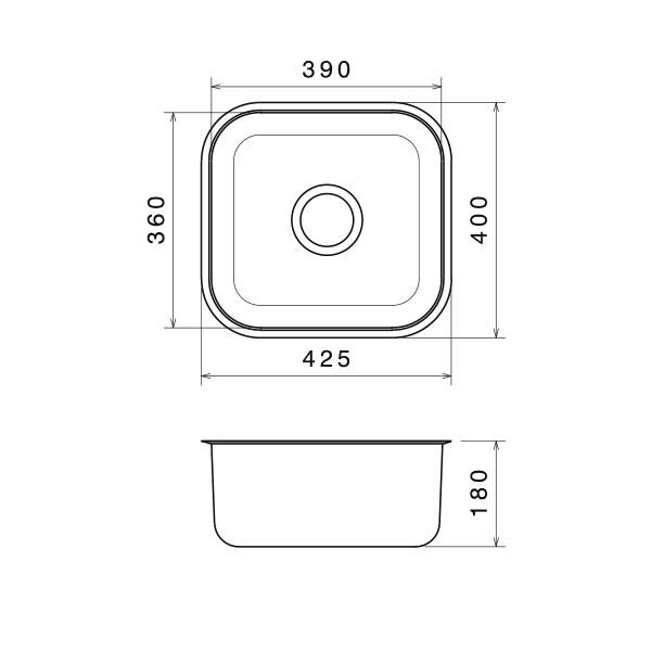 Tezgah Altı Mutfak Evyesi 39x39