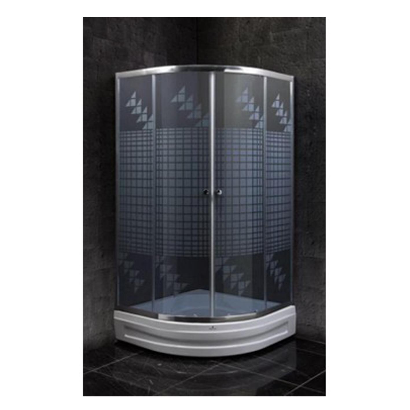 Duşakabin 90x90 Oval 4mm Siyah Yelken Desen Cam