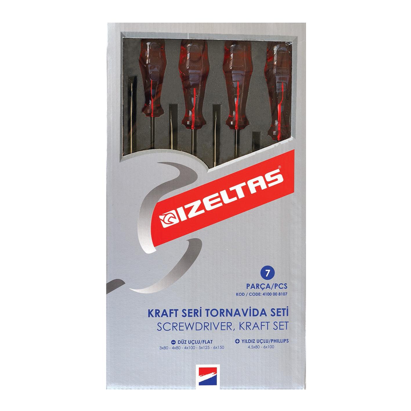 İzeltaş 7 Parça Tornavida Seti Kraft Seri