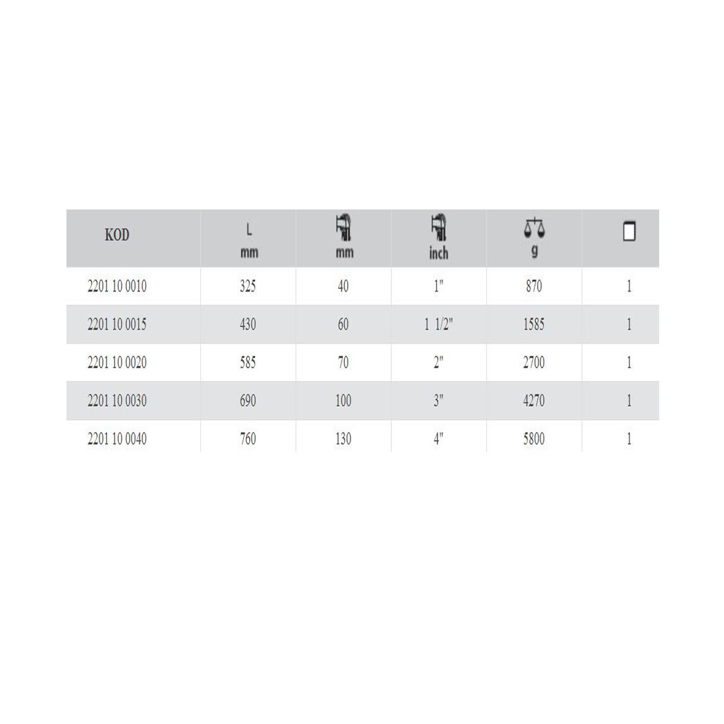 İzeltaş 11/2 İnç Maşalı Boru Anahtarı (85°)