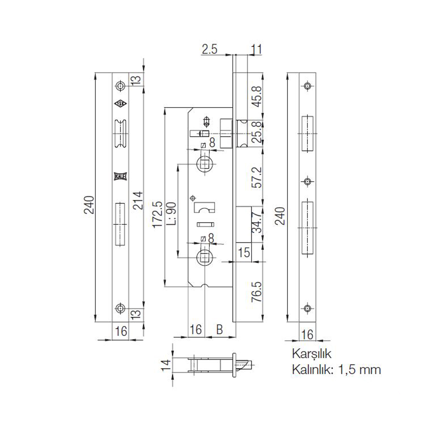 Kale 269 P WC Pimapen İç Kapı Gömme Kilidi 35mm